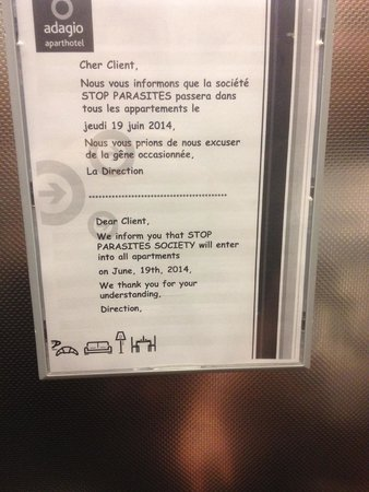 Adagio Aparthotel Val d'Europe: Letter to guests