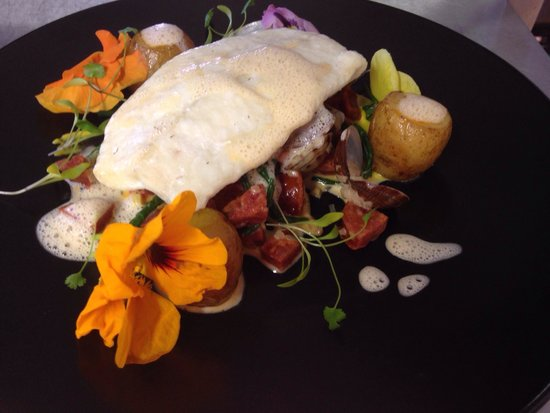 The Bluebell: Halibut with vanilla foam & chorizo