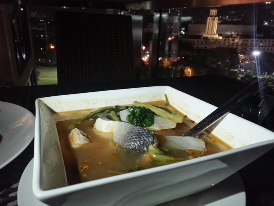 Sky Deck at The Bayleaf Hotel: Sinigang na Bangus. Thanks flashlight