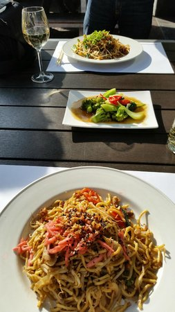 Wagamama: Yaki Soba and Pad Thai with stir-fried veggies side