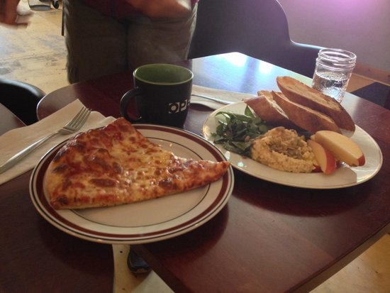 Rockfish Bakery : Delicious pizza slice and humus plate