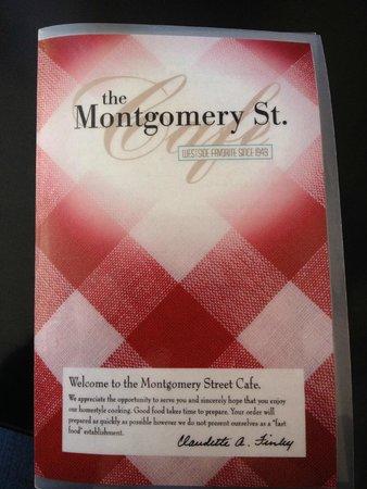 Montgomery Street Cafe: Menu Cover