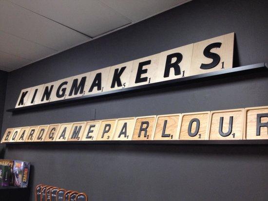 Kingmakers Board Game Parlour: Signage at bar