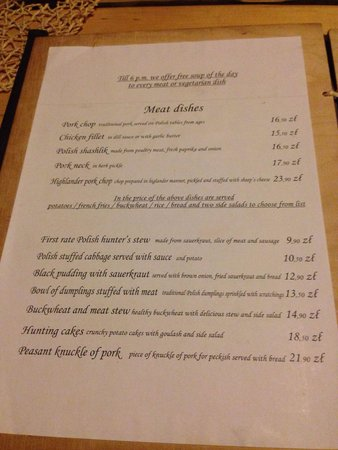 Chata: Menu with just done of the fine dishes on offer!
