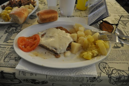 Nutshell Eatery and Bakery : Chicken fried steak, squash & potatoes