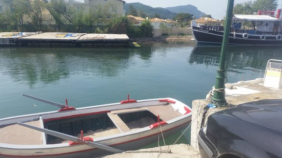 Messonghi Beach Resort : old man ferrys you across river for 1 euro each kids go free or 20 - 25 min walk back round  to
