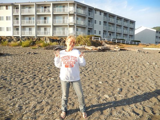 BEST WESTERN PLUS Beachfront Inn: Hotel in background.  Proud OSU Grandma