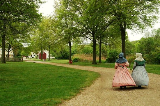 Old Bethpage Village Restoration: Ladies Walking at Old Bethpage Village Civil War Encampment