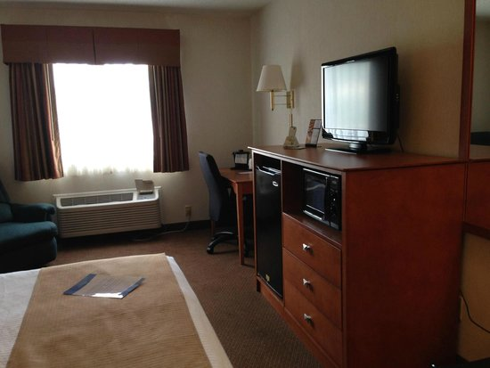 Baymont Inn & Suites Port Huron: TV, Microwave, Fridge,along with the Desk and the Desk chair