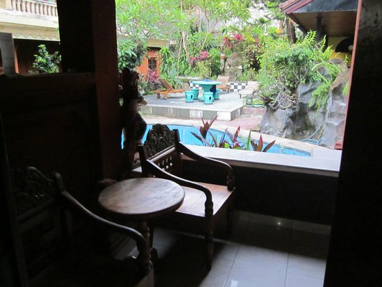 Hotel Lumbung Sari: View from our first room to pool and dining area.
