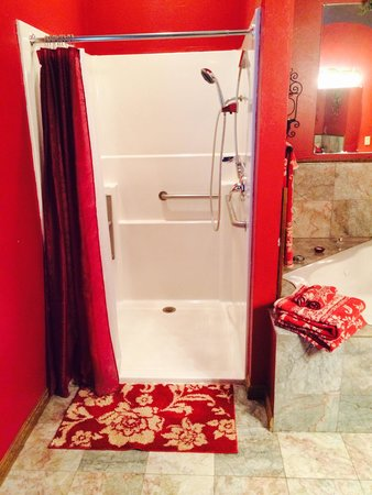 Whispering Pines Bed and Breakfast : Rose suite shower