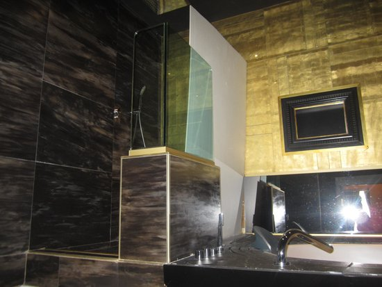 Spagna Royal Suite Rome: makeshift bathroom enclosure destroyed what should have been a great bathroom experience