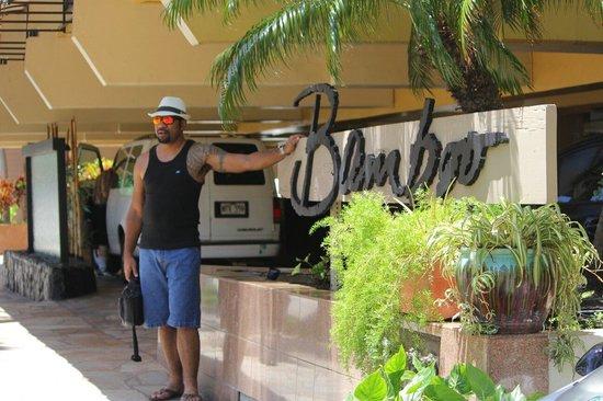 Aqua Bamboo Waikiki: My husband outside Bamboo. .loved the place.