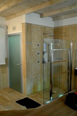 Metropolitan Hotel: Open shower and glass toilet room door