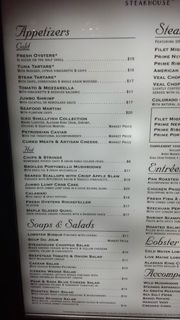 Vic & Anthony's Steakhouse - Las Vegas: Menu for your convenience; there is another picture included with the other half.