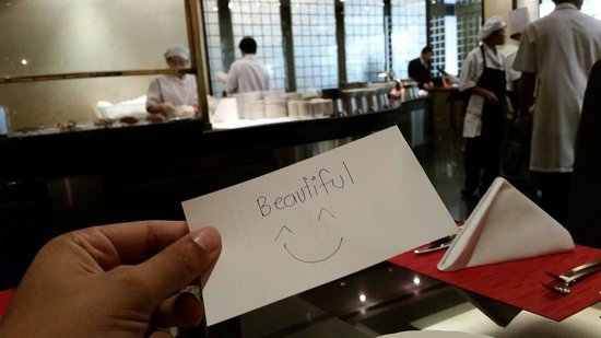 Landmark Bangkok: Great service from the restaurant staff. Their mamager left me this beautiful message compliment