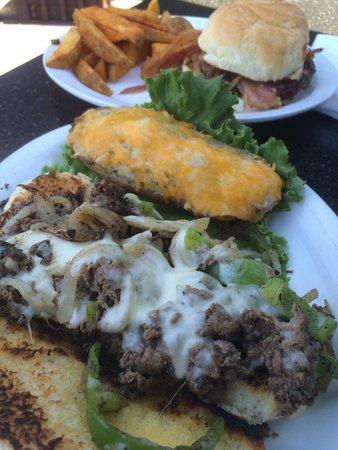 Haunted Hamburger: Philly cheesesteak, twice baked potato, BBQ cheeseburger, and steak fries