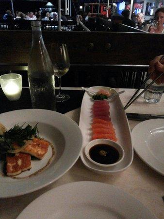 On The Inlet: Sashimi and Haloumi - amazing