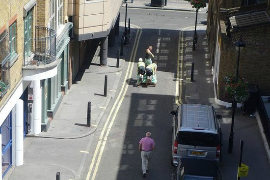 The Soho Hotel: pallet racing - view from window, looking out along mews