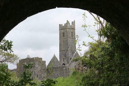 View of Quin Abbey from beneath the bridge across the road.