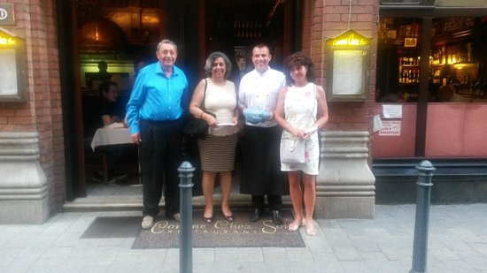 Comme Chez Soi: That's us outside the restaurant with Roberto and Edit