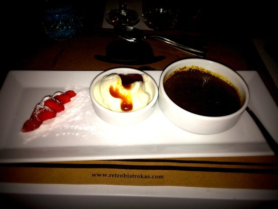 Retro Bistro: Cream Brûlée With Aubergine with burnt ice cream and caramel sauce ... And a knockout Tiramisu s
