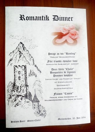 Swiss-Chalet Lodge: Menu romantique au Swiss-Chalet