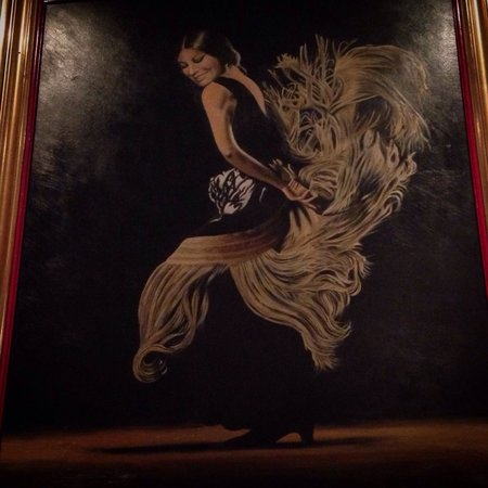 Corral de la Moreria : A painting illustrating a very elegant Flamenco dancer