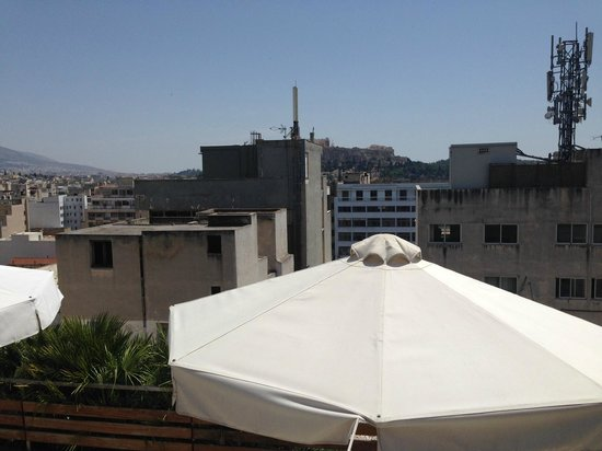 Fresh Hotel: View from roof top (Akropolis behind buildings)