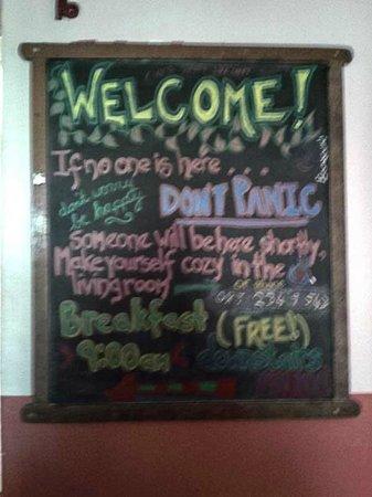 Old Monastery Hostel : Welcome board