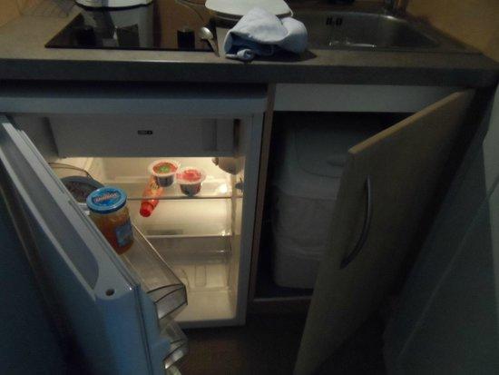 La Closerie Honfleur: Fridge, sink, kettle, microwave, hob