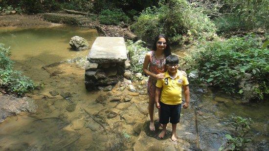 Corbett Falls: Kids in cold flowing water