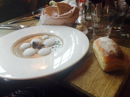 The Chequers: mushroom veloute and mini cheese loaf