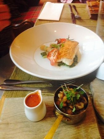 The Chequers: baked cod with chorizo chickpeas