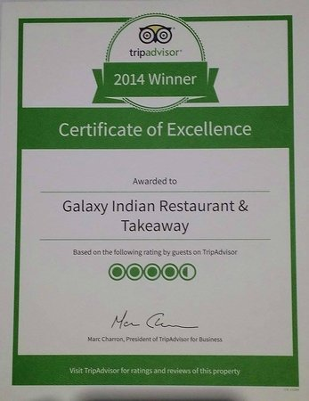 Galaxy Indian Restaurant & Takeaway: winner 2014