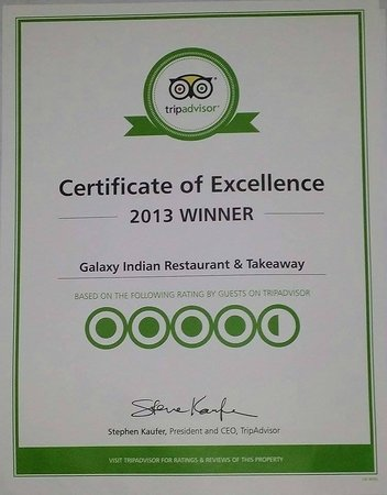 Galaxy Indian Restaurant & Takeaway: winner of 2013