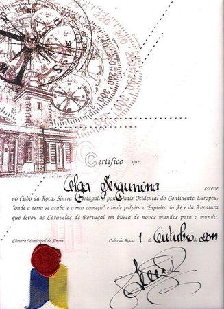Cabo Da Roca, сертификат
