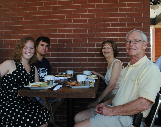 Frothy Monkey Coffeehouse: My family and I enjoying the porch