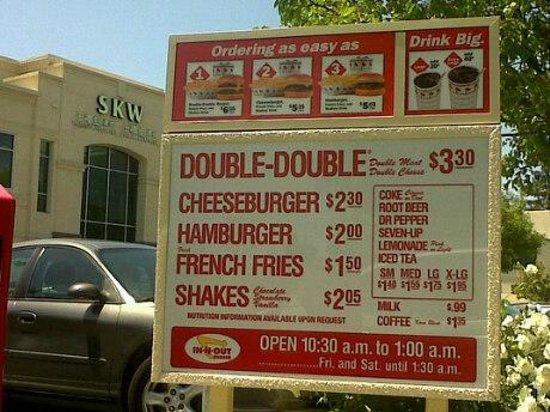 In-N-Out Burger: Menu