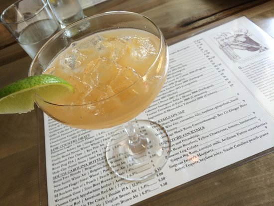 The Obstinate Daughter: Sargeant Jasper's Margarita made with fresh South Carolina peaches and Avion Tequila