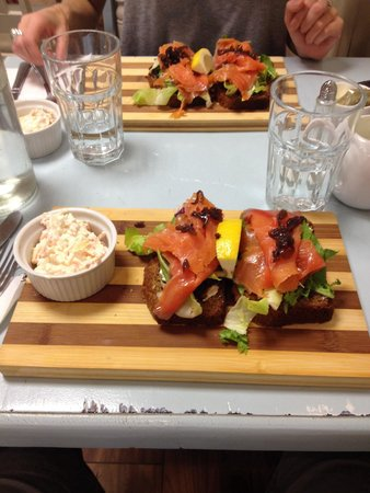 The Ugly Duckling Deli: Irish salmon on homemade Soda bread with onion relish