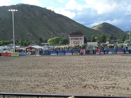 Jackson Hole Rodeo Grounds : View from our covered seats
