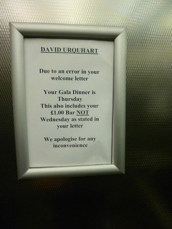 Adelphi Hotel & Spa: A very strange sign in the lift - what is a £1 bar? Bad omen ...