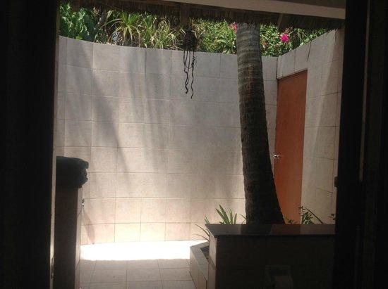 Angaga Island Resort : Offenes Bad mit Palme