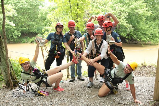 Hocking Hills Canopy Tours: Our awesome guides, Danielle and Candy, and our group!