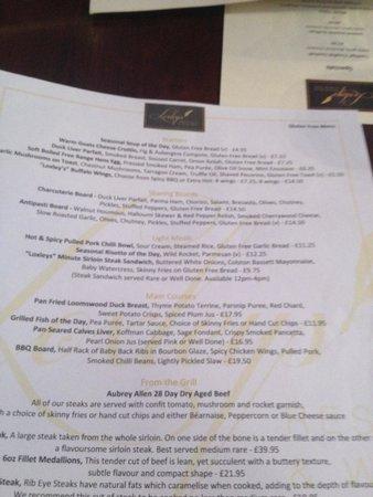 Loxley's Restaurant & Wine Bar: My own gluten free menu