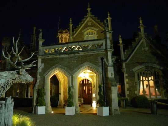 The Oakley Court: entrance after dark