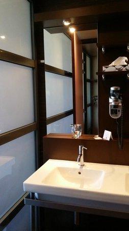 Hotel La Maison Rouge : Paroi en verre de la salle de bain