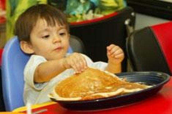 Hot Metal Diner: Pancakes bigger than he is