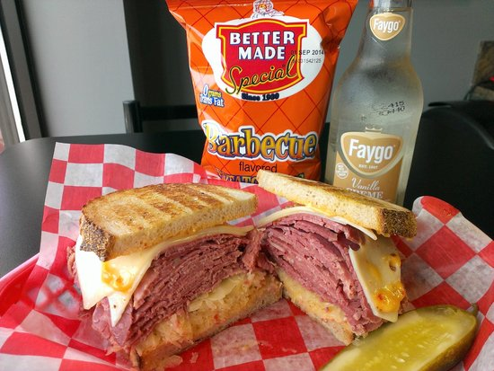 Detroit Ham & Corned Beef Co. : #4 CLASSIC REUBEN - House-cooked Sy Ginsberg Corned Beef w/ Swiss, kraut & Russian on grilled ry